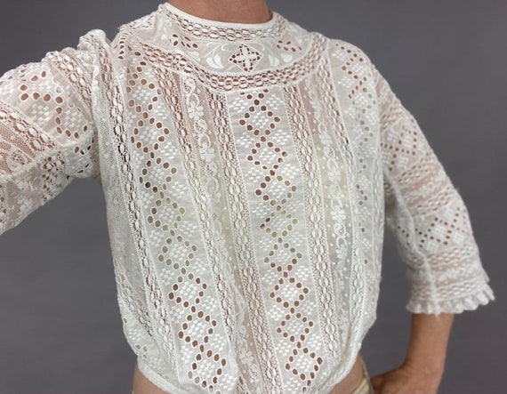 Antique White Cotton Eyelet Blouse, 1900s Edwardia