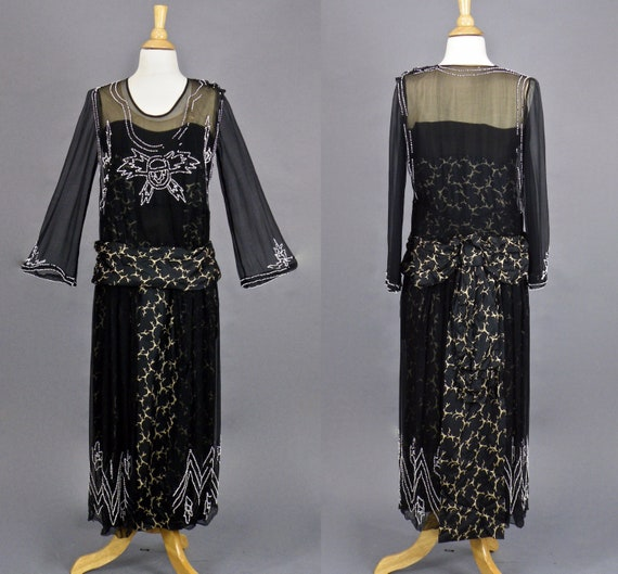 Vintage 1920's Dress, 20s Beaded Dress, Black Chiffon and Printed Silk Art Deco Dress