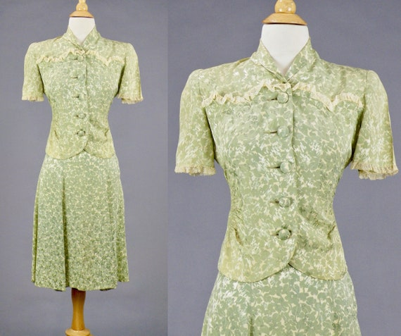 Vintage 1940s Embossed Green Floral Print Skirt Suit, New York Creation 1940s Summer Skirt Blouse Jacket, XS