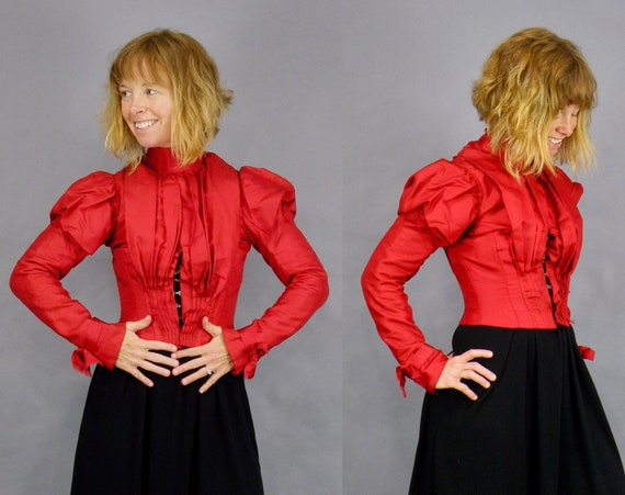 Antique Victorian Red Bodice Blouse, 1890s Bodice, 1800s Red Silk Top