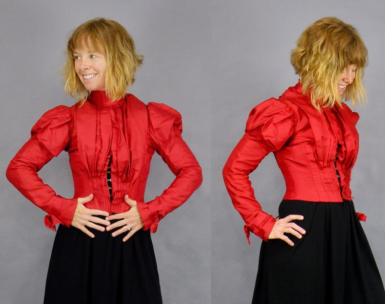 Antique Victorian Red Bodice Blouse 1890s Bodice 1800s Red image 0