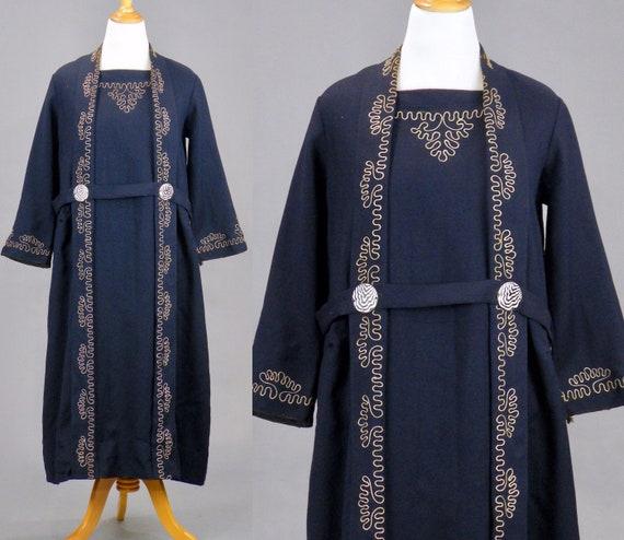 Late 1910s 1920s Chain Stitch Embroidered Wool Dress, Arts & Crafts 1920s Dress, L - XL