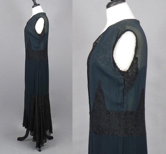 1930s Dress, Vintage 30s Black Silk Chiffon and L… - image 3