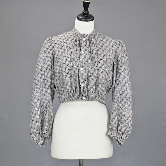 Antique 1900s Edwardian Cotton Calico Blouse with Fitted Inner Bust, Medium