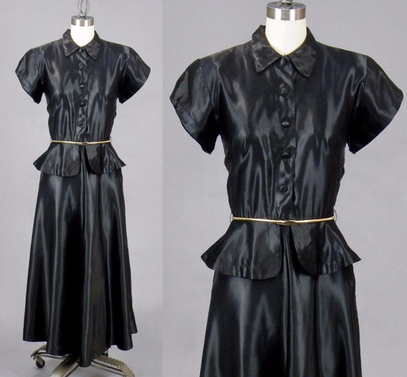 Vintage 1940s Black Liquid Satin Peplum Dress, 40s Dress, Small
