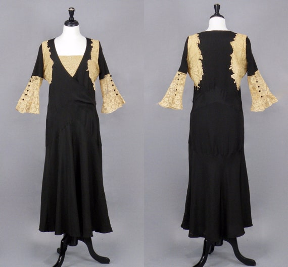 1930s Dress, Vintage 30s Dress, Black Rayon and Lace Bias Cut Evening Dress, 40 Bust Medium - M/L