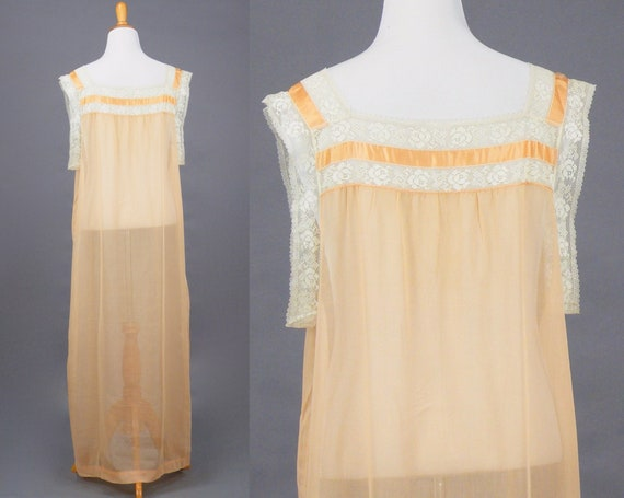1910s 1920s Nightgown, XL Antique Peach Cotton Fi… - image 6