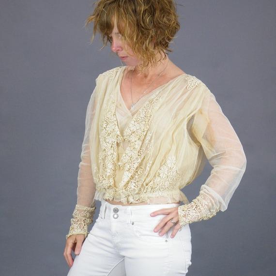 1900s Edwardian Embroidered Net Lace Blouse, Crea… - image 1