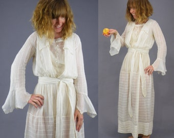 1900s Dress, Antique Edwardian Dress, Sheer Cotton Net Day Dress with Bell Sleeves, XS