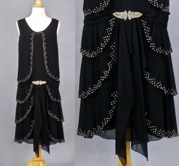Vintage 1920s Dress, 20s Flapper Dress, Tiered Bla