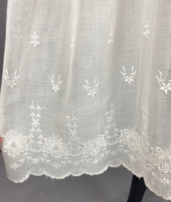 Vintage 1910s 20s Dress, Antique Embroidered Whit… - image 7