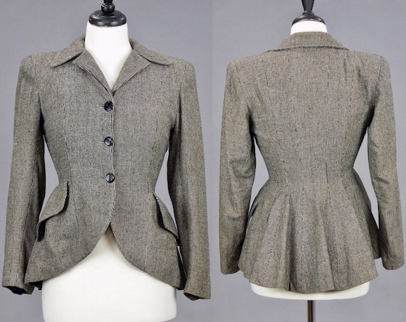 Vintage 1940s Fit and Flare Wool Blazer Peplum Jacket, S - S/M