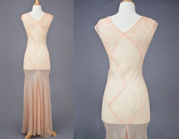 Vintage 1930s Blush Pink Bias Cut 30s Dress and W… - image 3