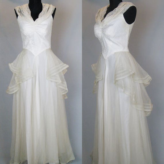 1930s Wedding Dress, Vintage 30s Dress, 30s Satin