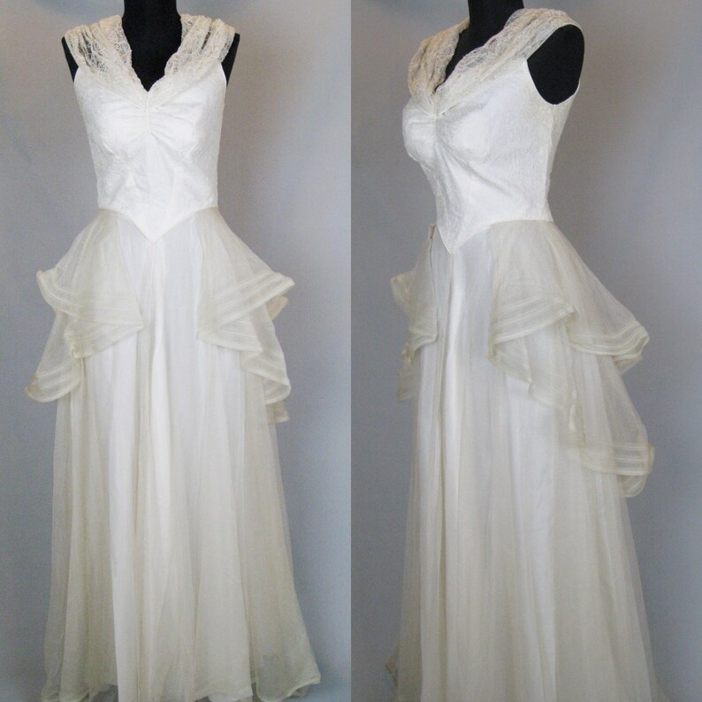 1930s Wedding Dress Vintage 30s Dress 30s Satin and Net Lace image 0