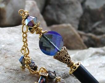 Hair Stick Purple Blue Crystal with Geisha Dangle Fine Cut Faceted Coin Hairstick Hair Chopsticks Swarovski Vitrail Crystal - Charmaine 3345