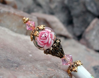 Pink Rose Floral Japanese Tensha Hair Stick with Premium European Crystals