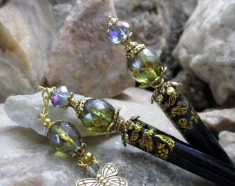 Pair of Hair Sticks with Green and Purple Glass and Butterfly Dangle