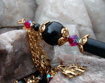 Elephant Hair Stick Black Pearl and Siam Red AB Swarovski Crystal Hairsticks Geisha Dangle Hair Sticks Butterfly Charm Hair Pins - Mohini