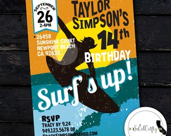 Surf Birthday Party Invitation Beach Surfer Invite Surfing Surfboard Pool DIY Printed Or Printable Invitations Free Shipping