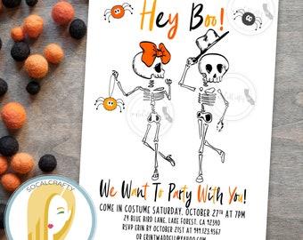 funny halloween party invitation modern halloween invitations skeleton invite spider invitation hey boo printed printable invitations