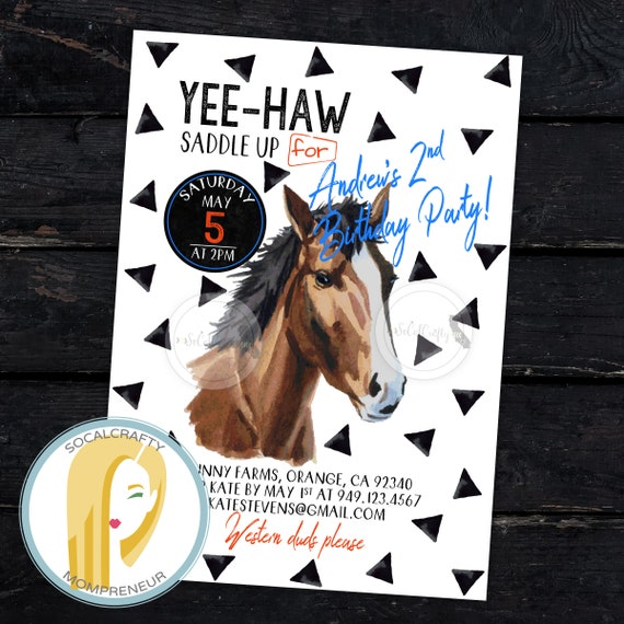 Horse Birthday Party Invitation Cowboy DIY Printed Or Printable Invitations