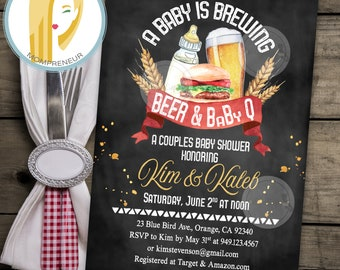 A Baby Is Brewing Baby Shower Invitation Beer Baby Shower Invitation Couples Baby Shower Coed Shower BBQ DIY Printed Printable Invitations