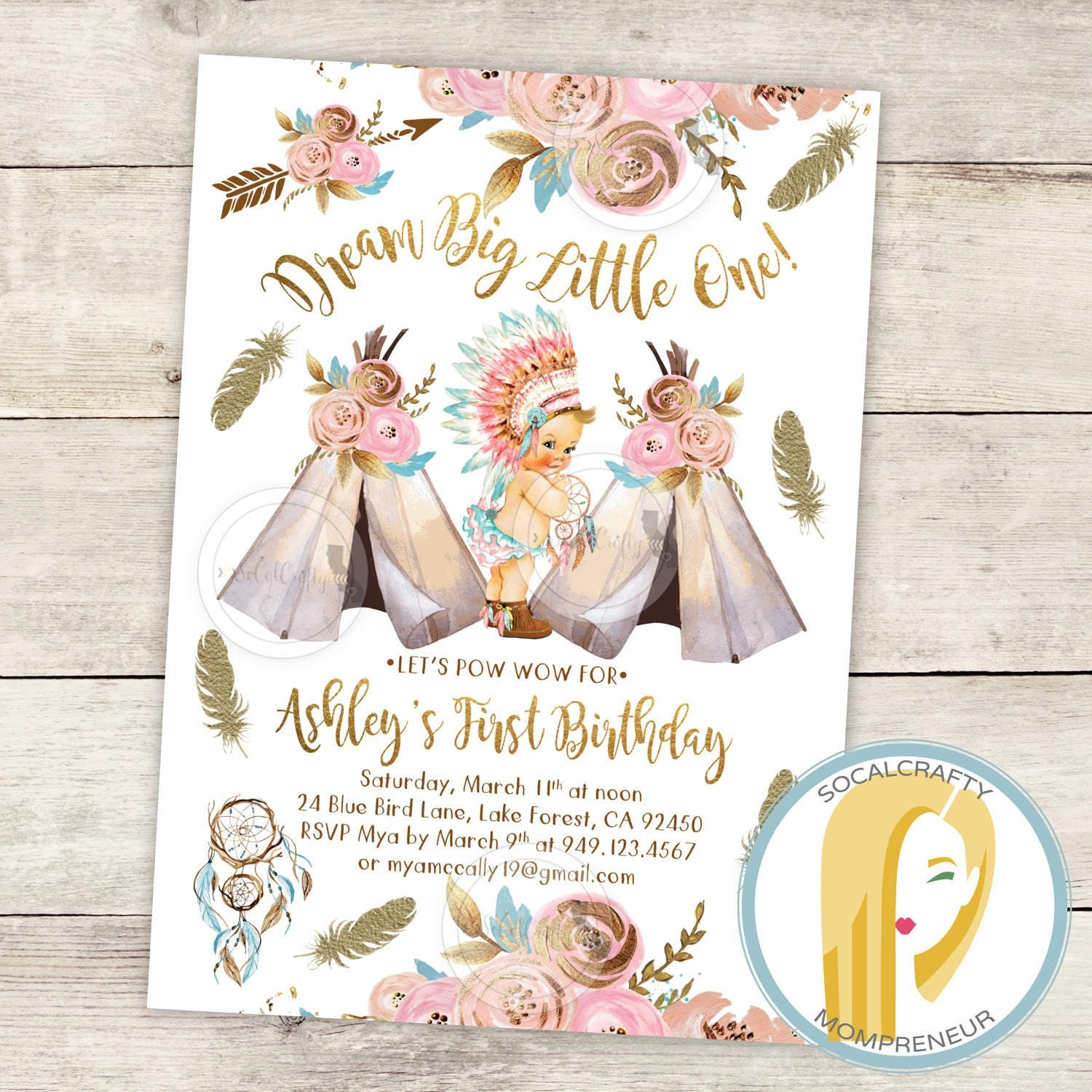 Dream Big Little One Birthday Party Invitation Dreamcatcher