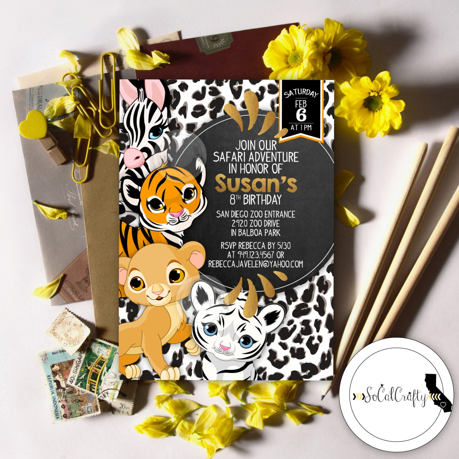 Safari Birthday Party Invitation Animal Invitation Zoo Etsy