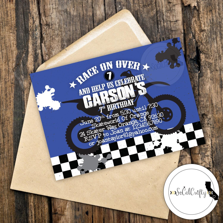 Motocross Birthday Party Invitation Super Cross Dirt Bike