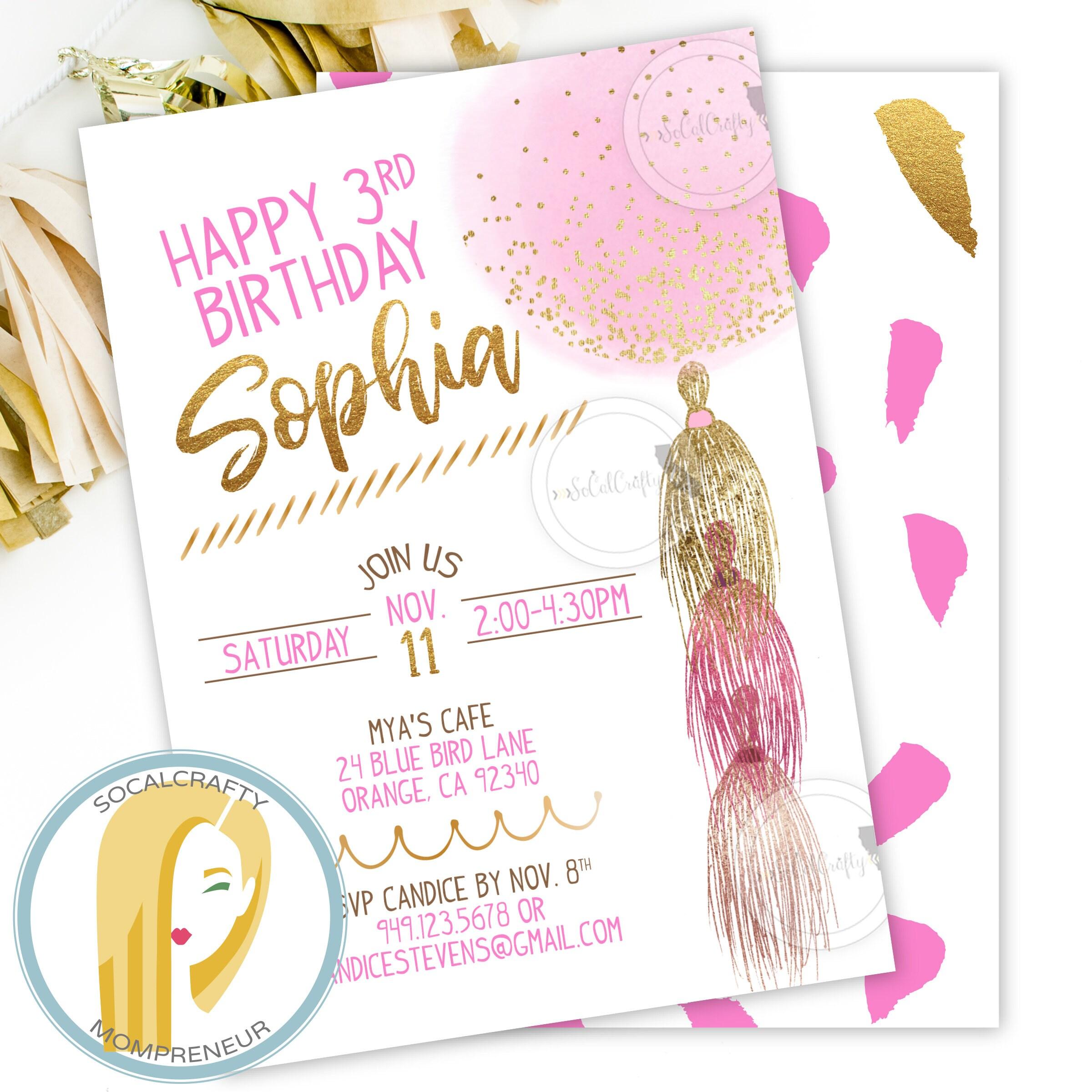 Balloon Birthday Invitation Blush Pink & Gold Birthday Party | Etsy