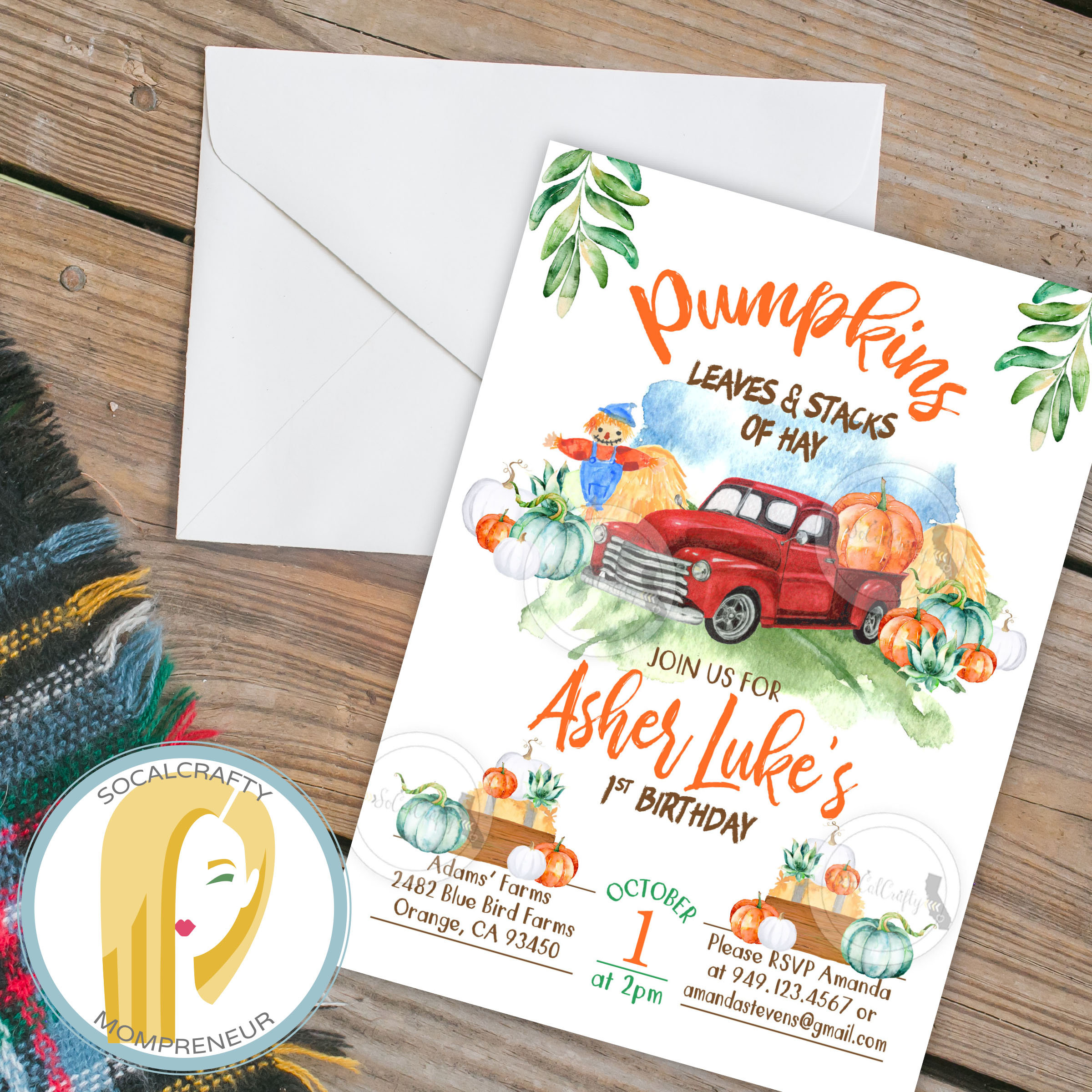 Pumpkin Birthday Invitation Pumpkin First Birthday Invitation Etsy