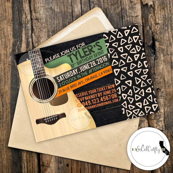 Rock And Roll Birthday Party Invitation Guitar Invite