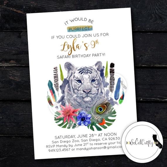 White Tiger Birthday Party Invitation Zoo Invite Safari Etsy