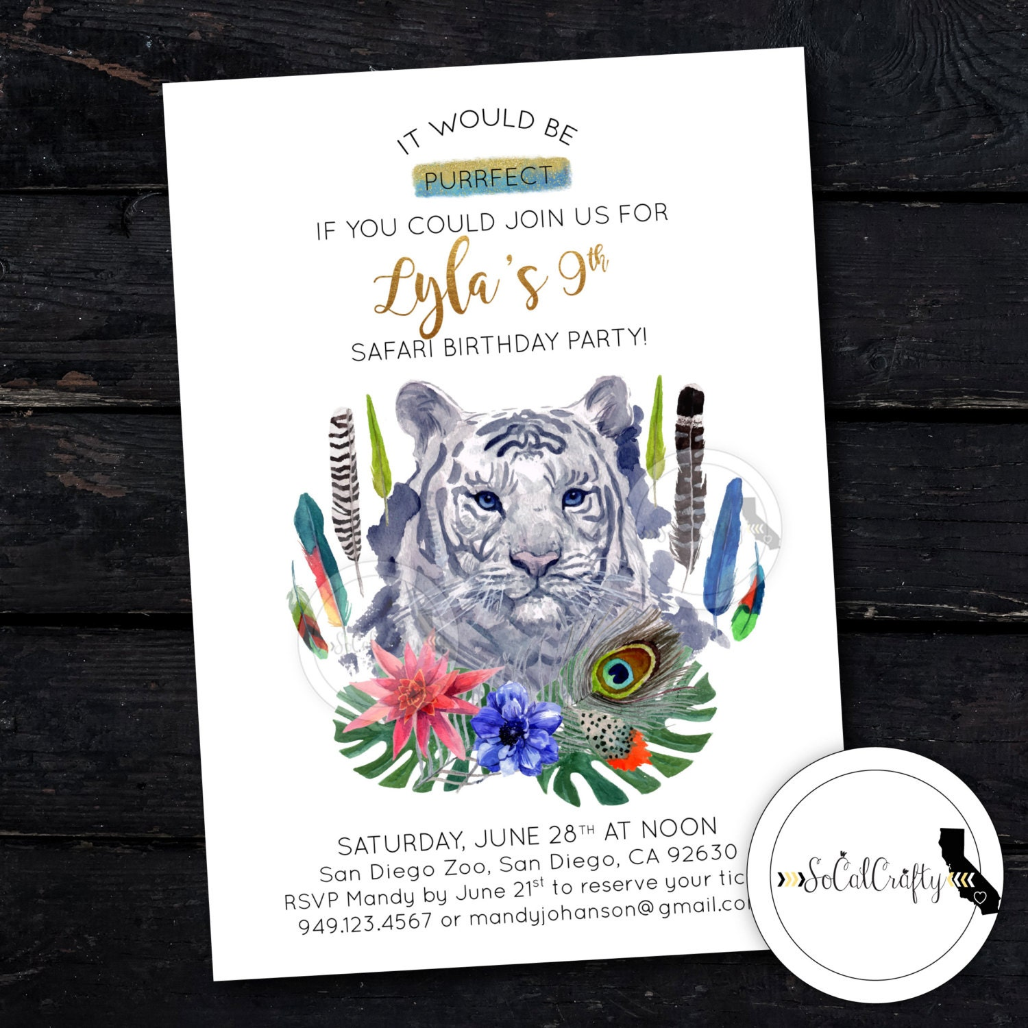 White Tiger Birthday Party Invitation Zoo Invite Safari | Etsy