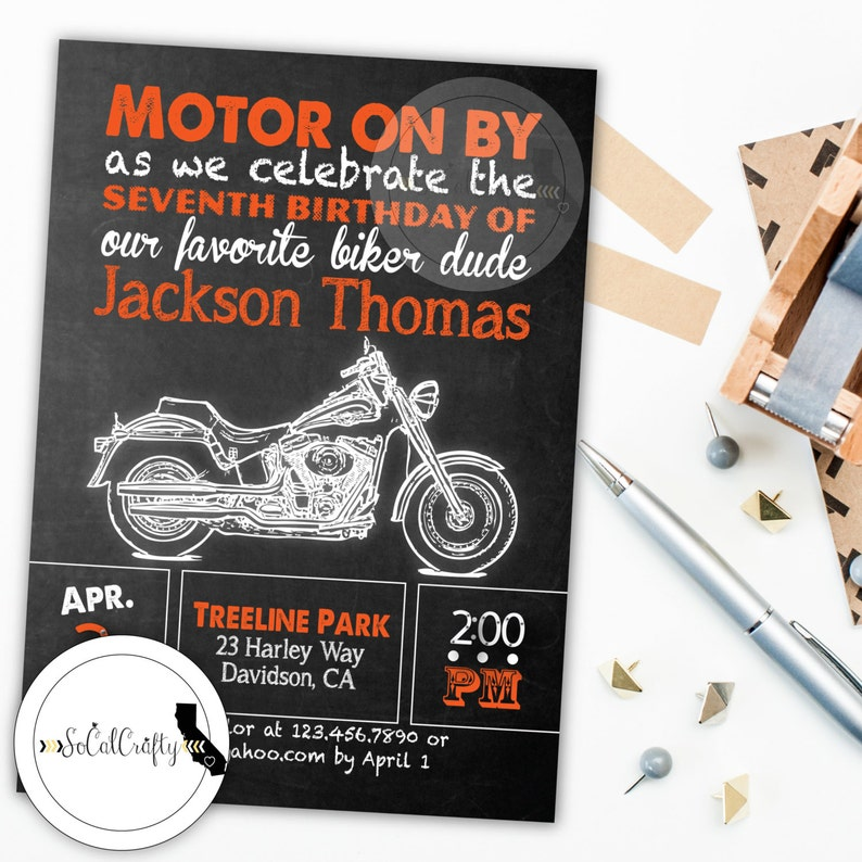 Motorcycle Invite Birthday Party