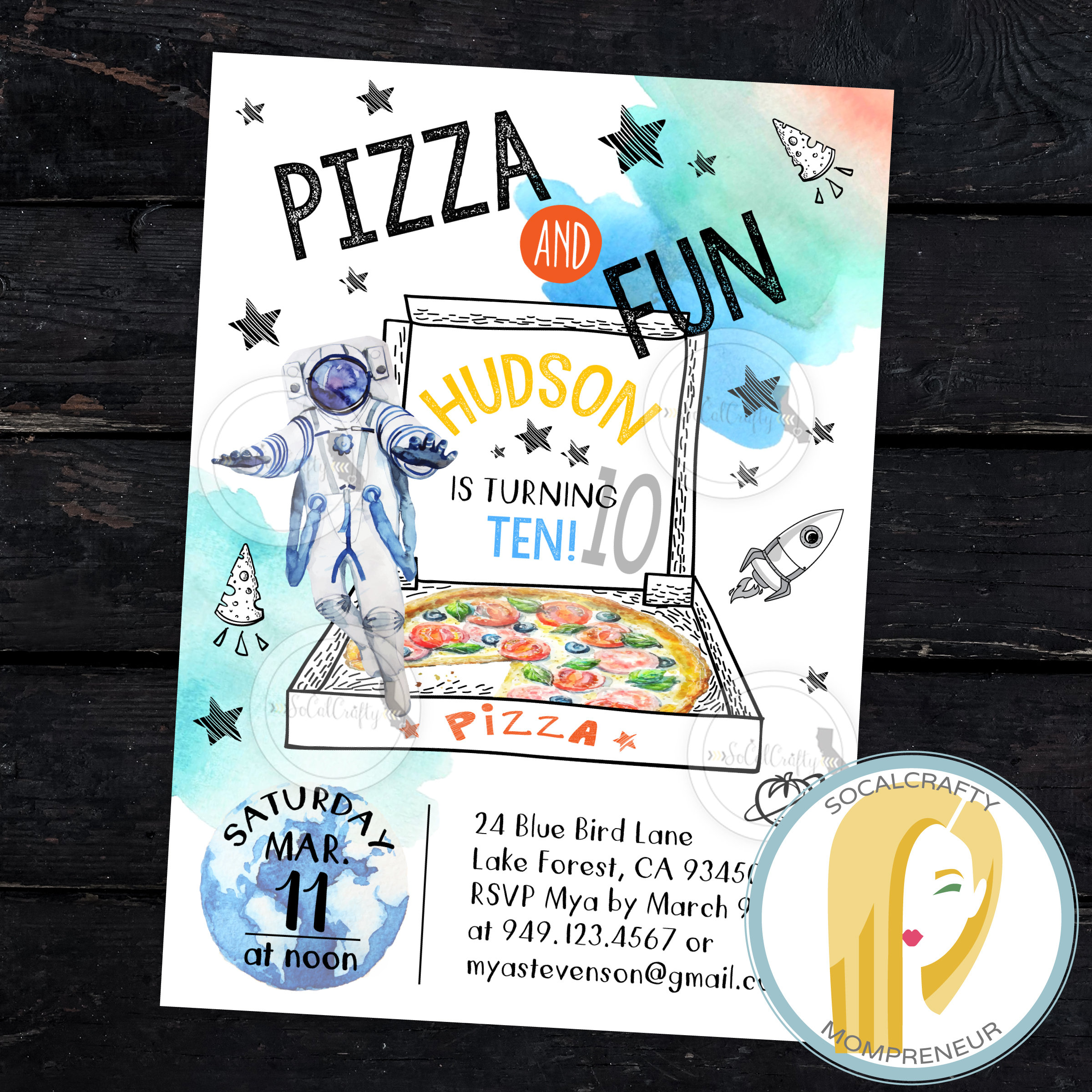 Space Birthday Invitation Party Outer