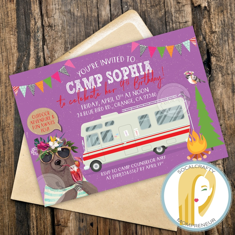 photograph regarding Free Printable Camping Birthday Party Invitations titled Tenting Birthday Bash Invitation, Camp Invitation, RV Birthday Get together Invitation, Camper Invite, Endure, Do-it-yourself, Published or Printable Invites