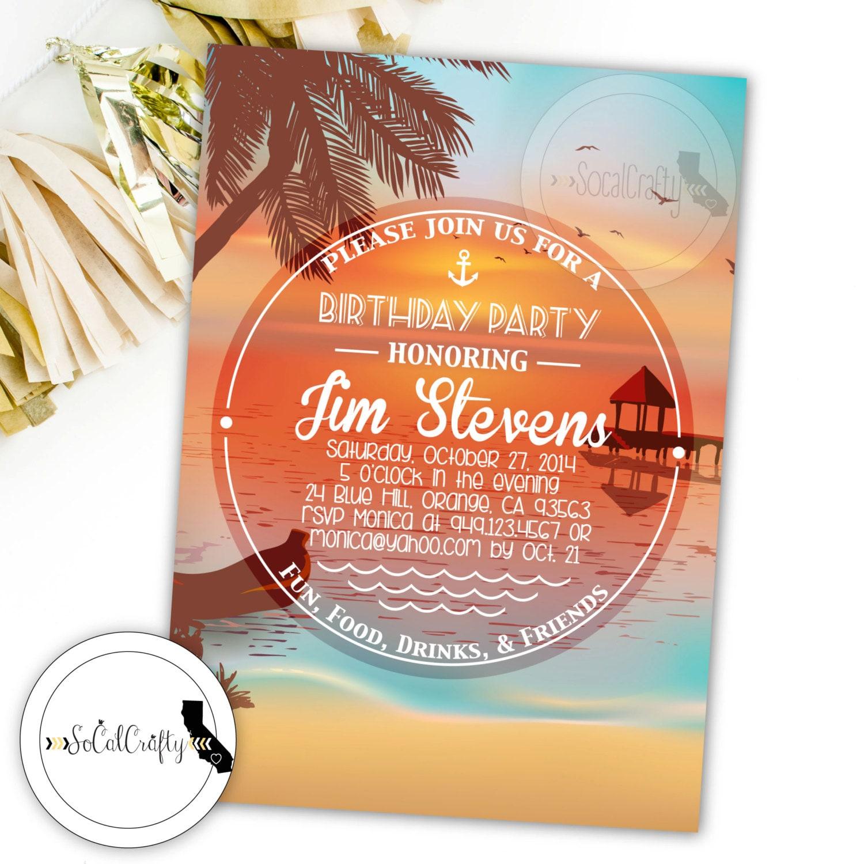 Beach Birthday Party Invitation Tropical