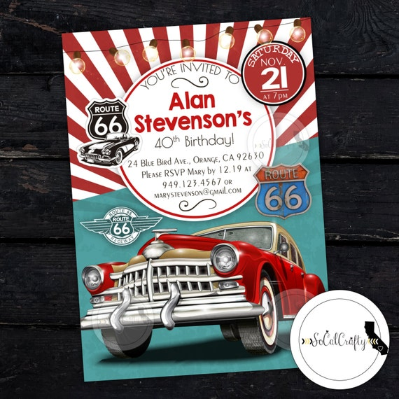 Car Birthday Party Invitation Vintage Chevy Teal Red