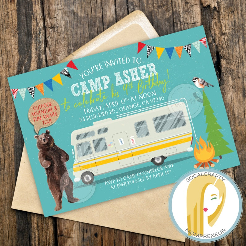 photograph about Free Printable Camping Birthday Party Invitations named Tenting Birthday Bash Invitation, Camp Invitation, RV Birthday Social gathering Invitation, Camper Invite, Go through, Do it yourself, Posted or Printable Invites
