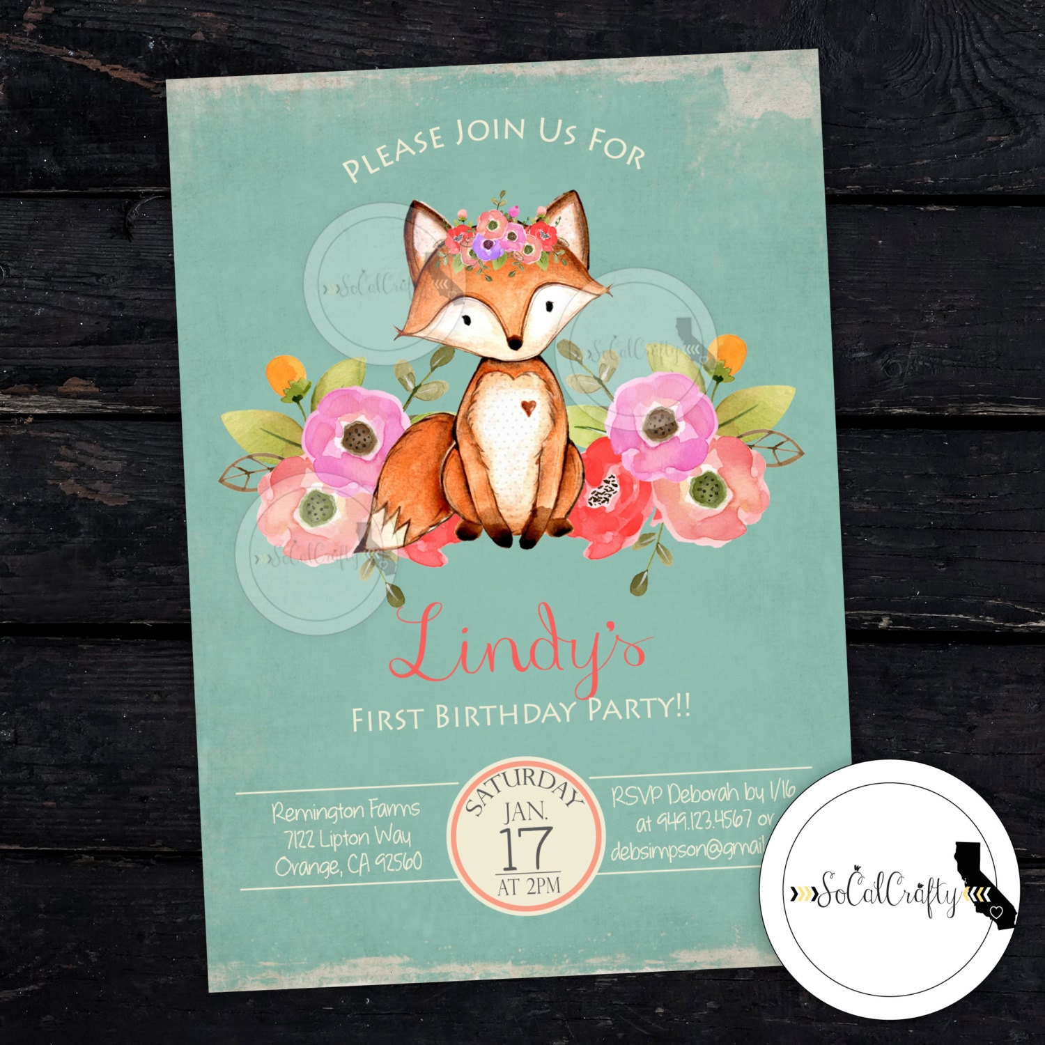 Woodland Fox Birthday Party Invitation Forest Animals Etsy