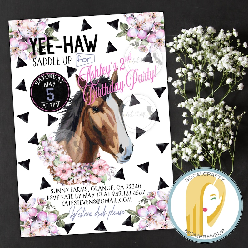 Horse Birthday Party Invitation Cowgirl Printed Or Printable Invitations