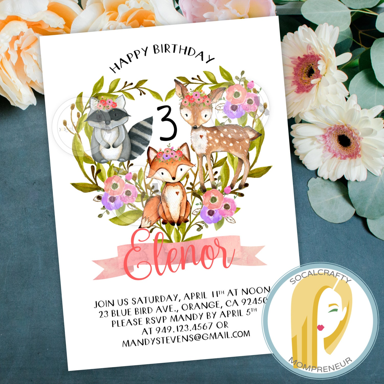 Woodland Birthday Party Invitation Fox Deer Watercolor Etsy
