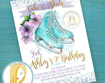 Ice Skating birthday invitation winter wonderland glitter