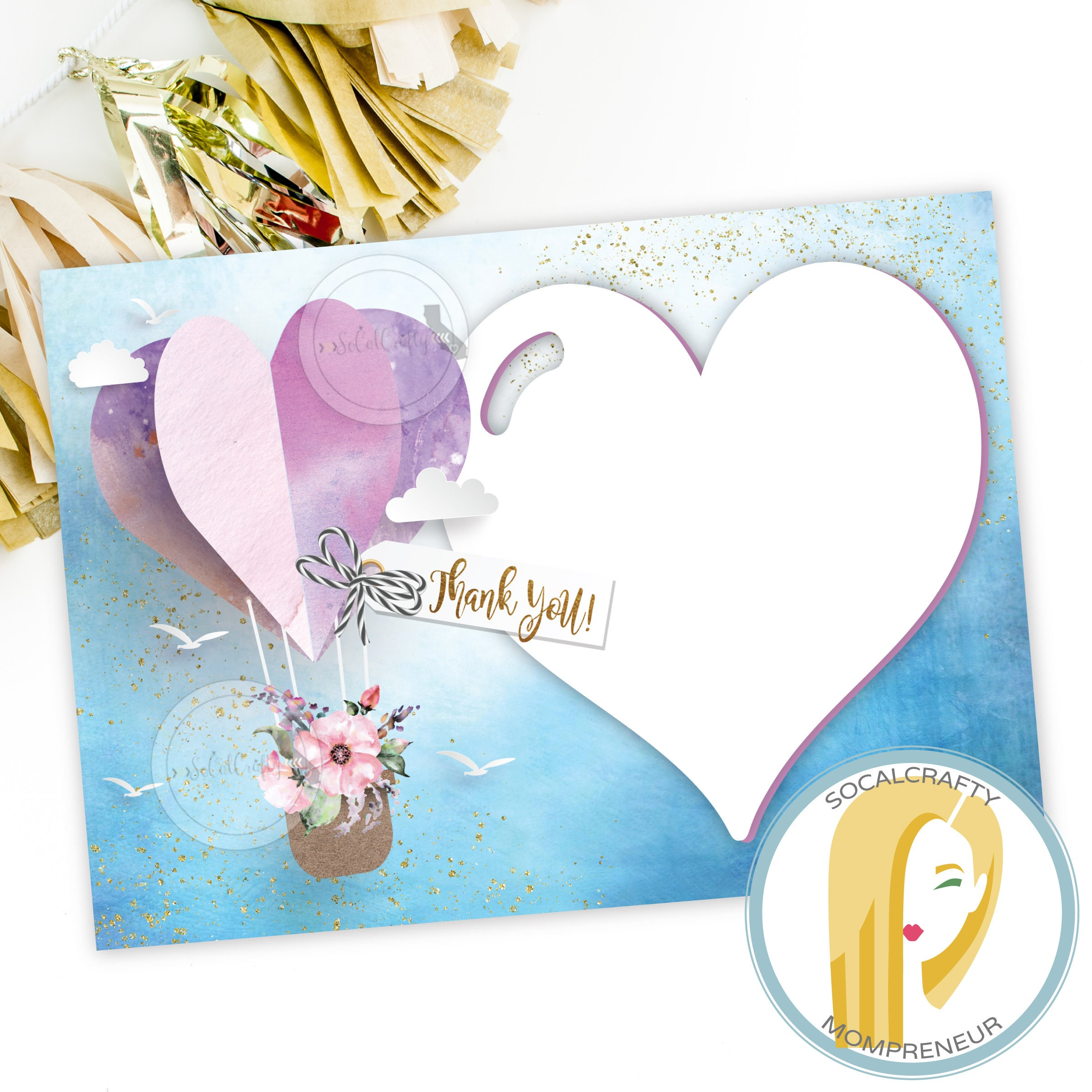Hot Air Balloon Thank You Card Baby Shower Thank You Card Etsy