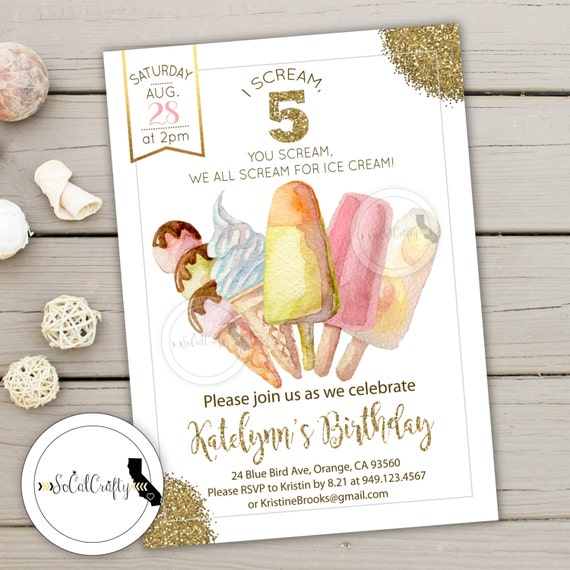 Ice Cream Birthday Party Invitation Watercolor Invite Blush