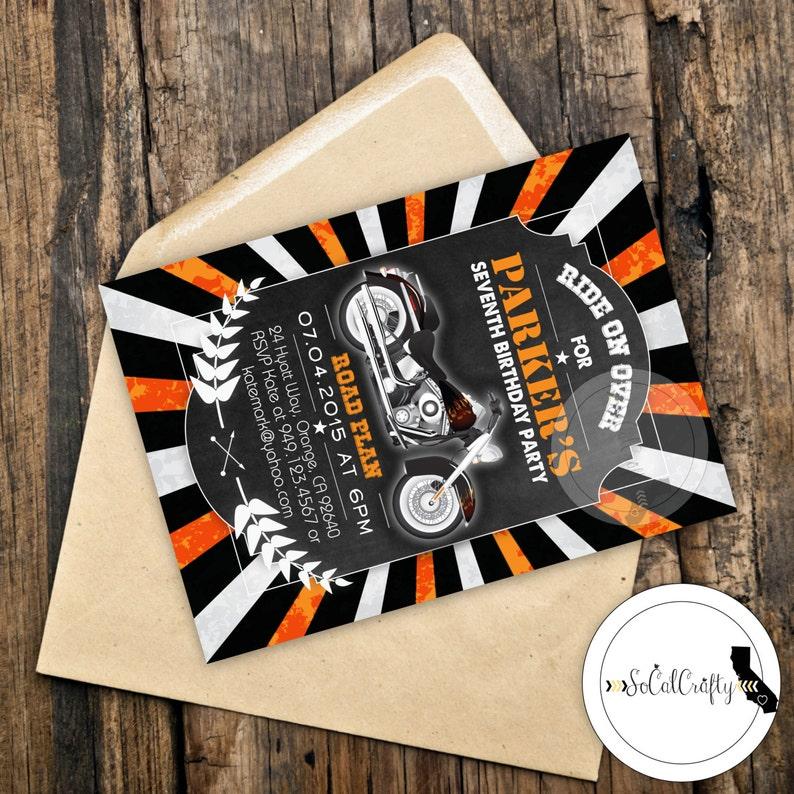 Harley Davidson Geburtstags Party Einladung Tafel Motorrad