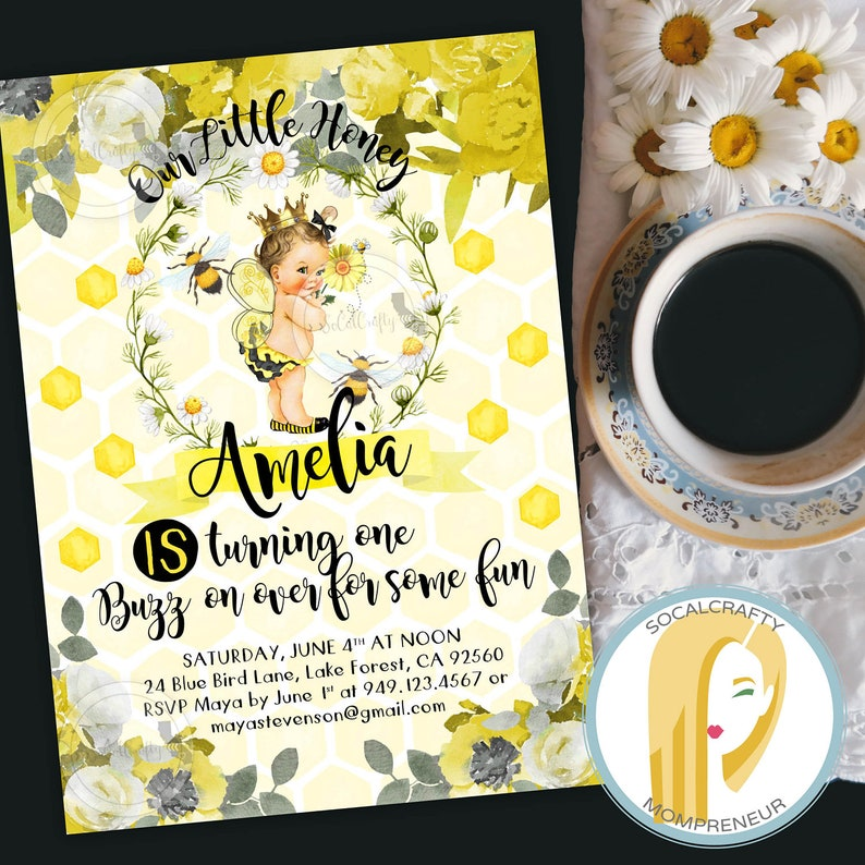 Bumble Bee Birthday Invitation First