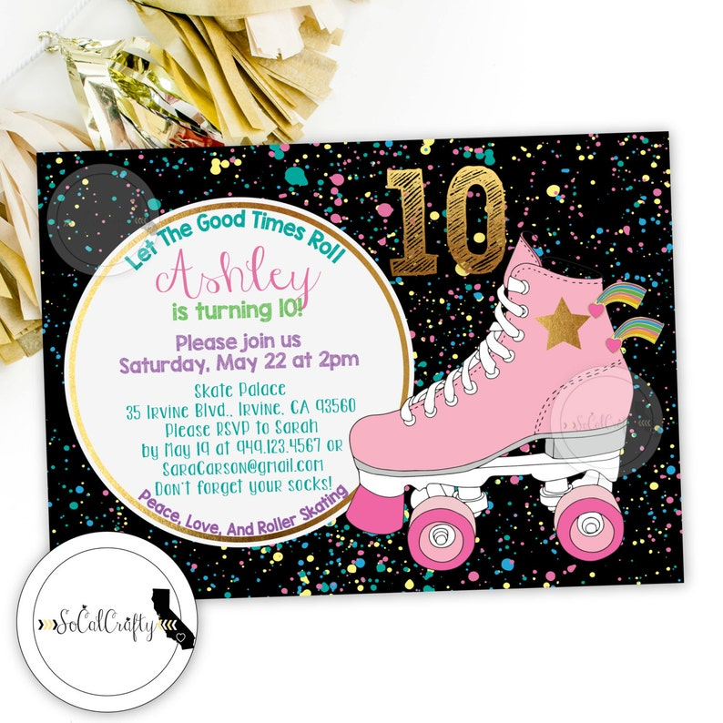 Roller Skating Birthday Party Invitation Skates